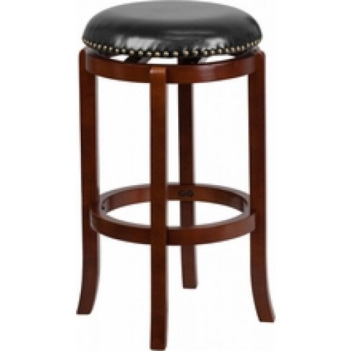 29'' Backless Light Cherry Wood Bar Stool with Swivel Seat