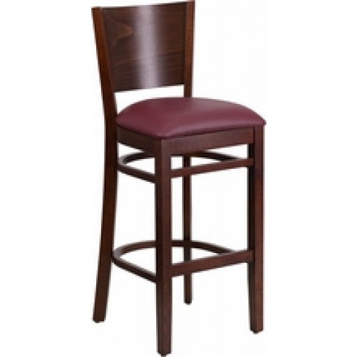 Solid Back Walnut Wooden Restaurant Barstool - Burgundy Vinyl Seat