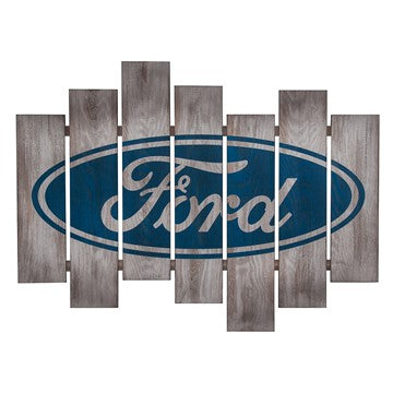 Ford Oval Slat Wood Wall Plaque