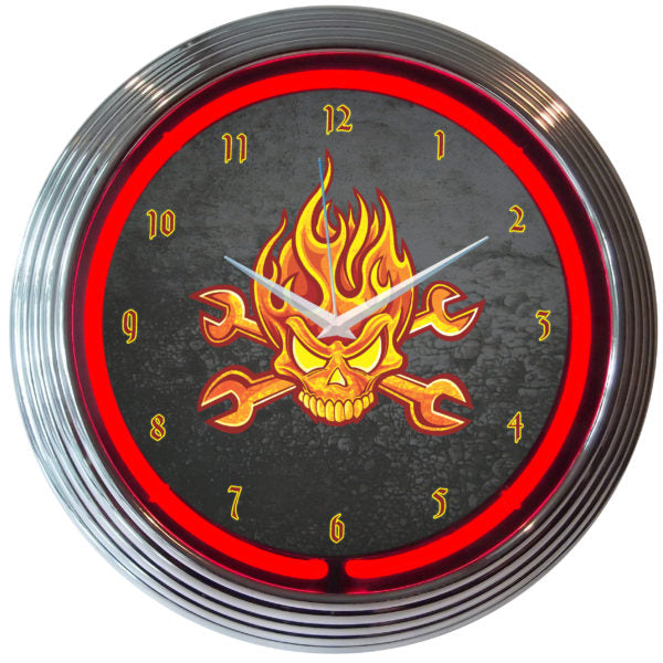 Mechanic Fire Skull & Wrenches Neon Clock