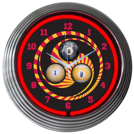 Billiards 1, 8, 9 Neon Clock