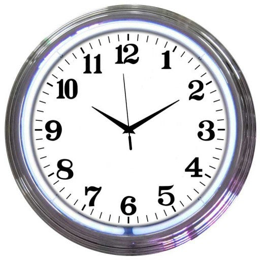 Chrome White Standard Neon Clock