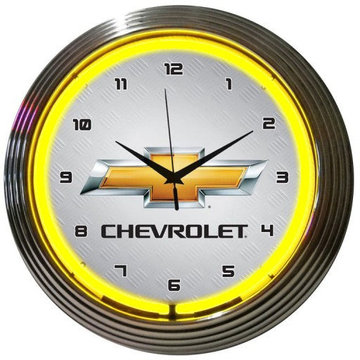 GM Chevrolet Yellow Neon Clock