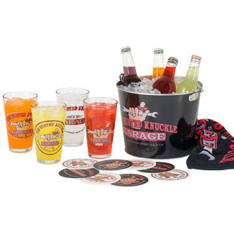 The Busted Knuckle Garage Pint Glass Bucket Set