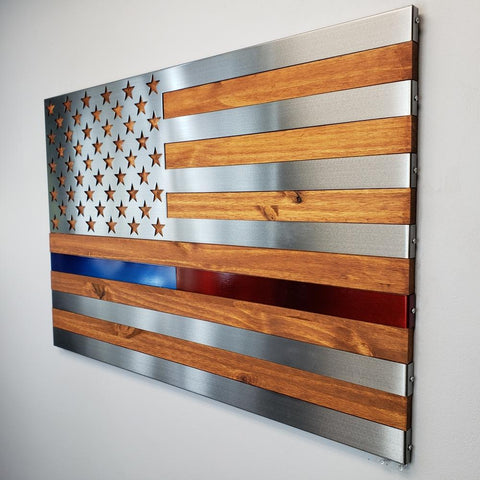 Burnt / Hand Oiled Pine & Polished Steel US Flag - Hero Line