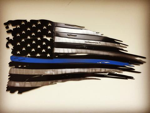 Blue Line Weathered Old Glory Metal Art