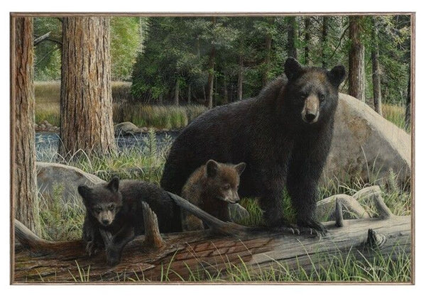 Black Bear Family Picture on Wood Board
