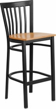 Black School House Back Metal Bar Stool - Wood Seat