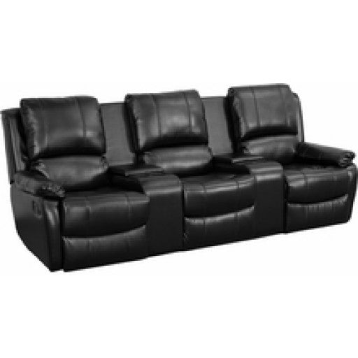 Black Leather Pillowtop 3 Seat Home Theater Recliner With Cup Holders