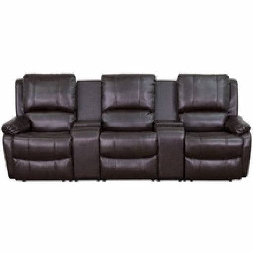 Brown Leather Pillowtop 3-Seat Home Theater Recliner with Cup Holders