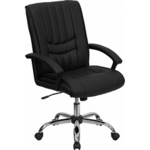 Mid-Back Black Leather Manager's Chair
