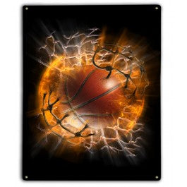 Basketball Blast Radius Metal Sign