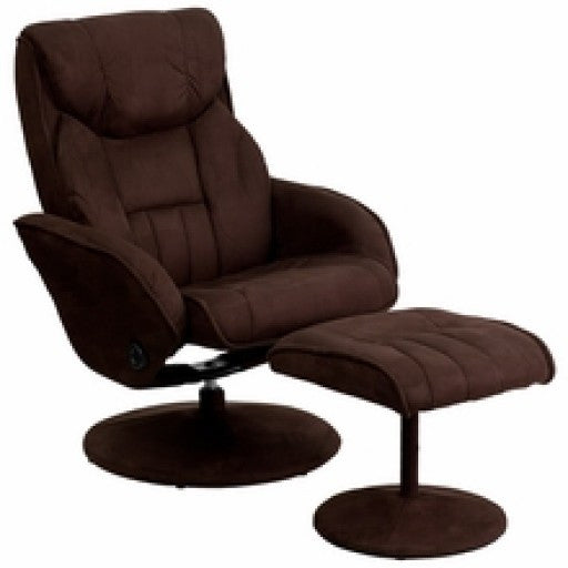 Contemporary Brown Microfiber Recliner and Ottoman