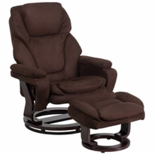 Brown Microfiber Recliner and Ottoman