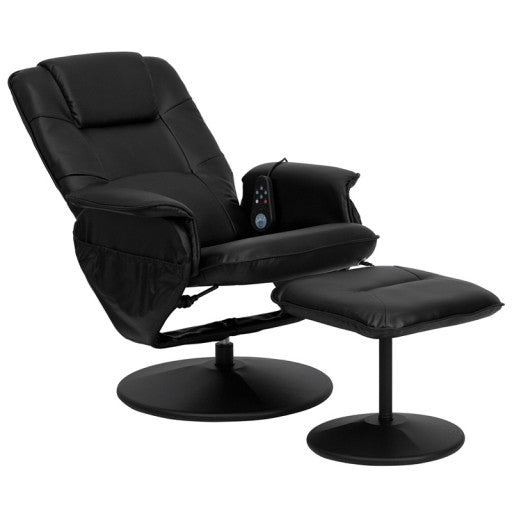Massaging Black Leather Recliner and Ottoman - Wrapped Base