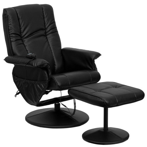 Massaging Black Leather Recliner and Ottoman with Side Pockets