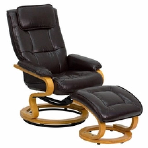 Brown Leather Recliner and Ottoman with Maple Wood Base