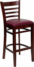 Mahogany Finished Ladder Back Wooden Bar Stool W/Vinyl Seat