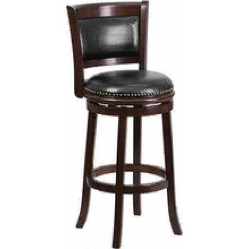 29'' Cappuccino Wood Bar Stool with Swivel Seat