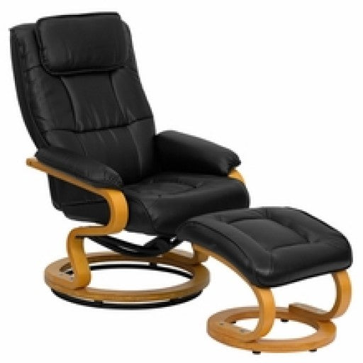 Black Leather Recliner and Ottoman with Maple Wood Base