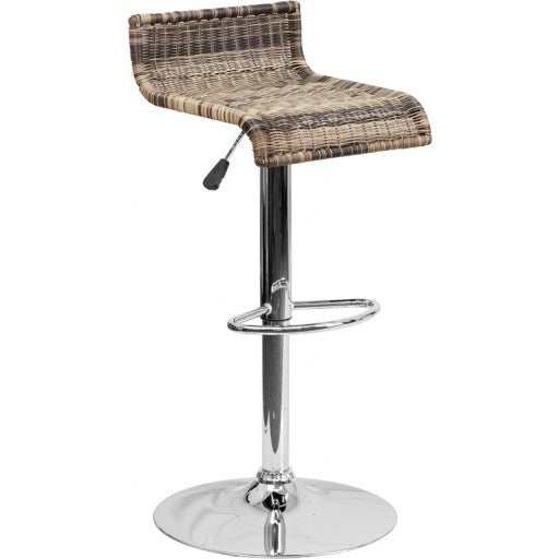Square Back Wicker Adjustable Height Barstool