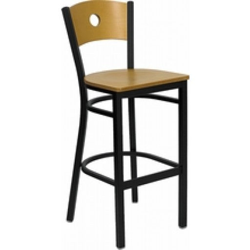 black circle back metal bar stool natural wood back u0026 seat