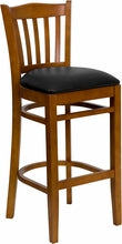 Cherry Finished Vertical Slat Back Wooden Bar Stool W/Vinyl Seat