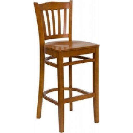 Cherry Finished Vertical Slat Back Wooden Bar Stool