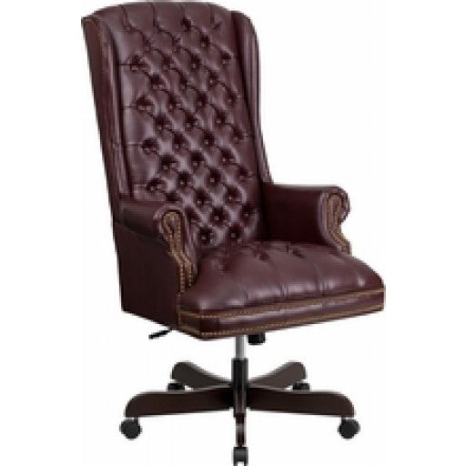 High Back Traditional Tufted Burgundy Leather Executive Office Chair.