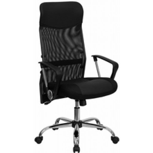 High Back Black Leather & Mesh Swivel Task Chair