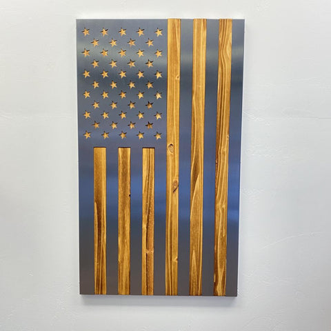 Vertical Burnt / Hand Oiled Pine & Polished Steel US Flag