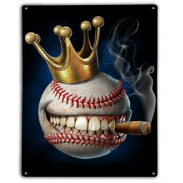 King of Baseball Metal Sign