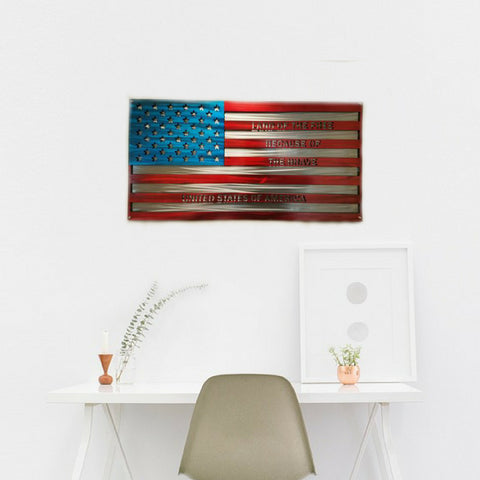 """Land of the Free Because of the Brave"" US Flag Metal Art"