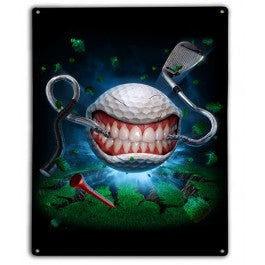 Monster Golfball Metal Sign