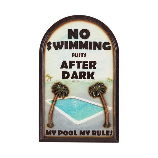 No Swimming Suits After Dark Outdoor Sign