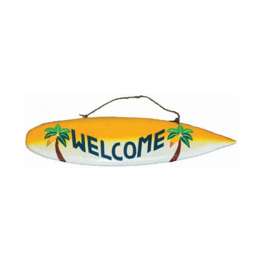 """Welcome"" Outdoor Surfboard Sign"