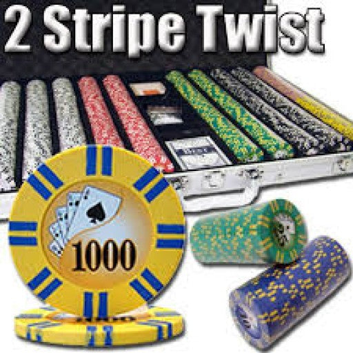 1,000 Ct -  2 Stripe Twist - 8 G - Poker Chip set