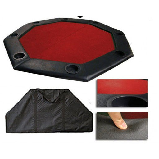 "48"" Poker Table Top w/ Padded Rail - Red"