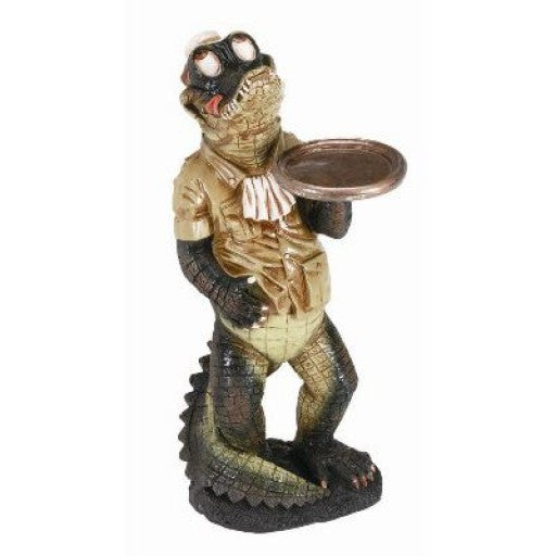 Gator Waiter Statue with Tray