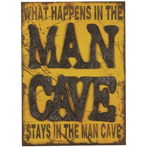 What Happens in the Man Cave Metal Sign