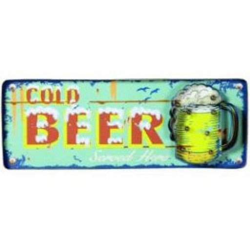Cold Beer Metal Sign Blue