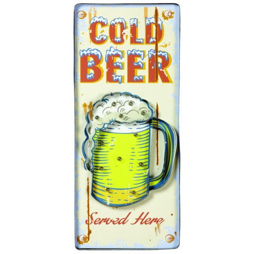 Cold Beer Metal Sign White