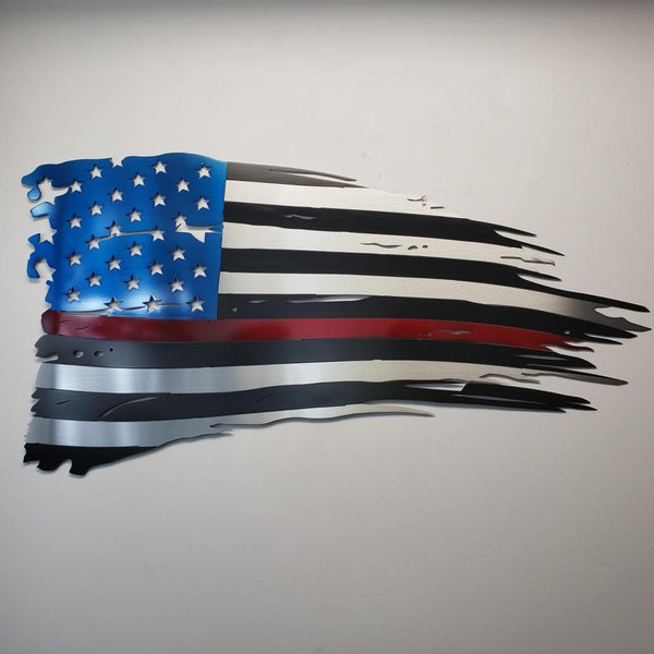 Red Line Old Glory Metal Art