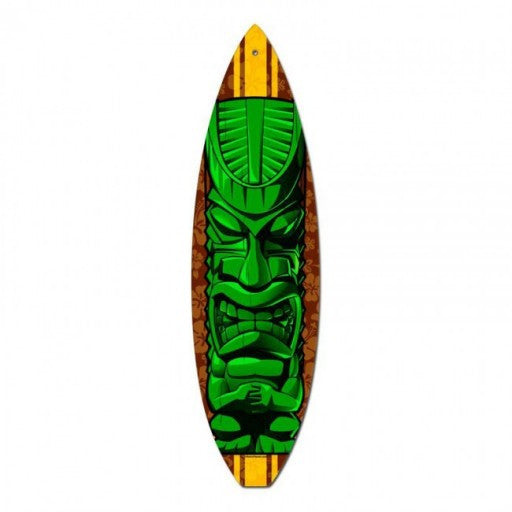 Green Tiki Surfboard Metal Sign