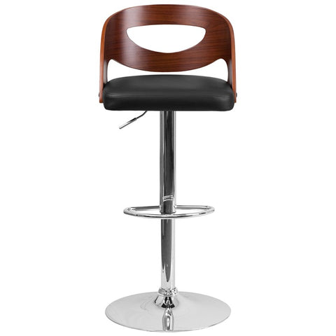 Walnut Bentwood Adjustable Height Barstool with Double Cutout Back