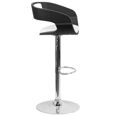 Two Tone Black & White Black Vinyl Adjustable Height Barstool