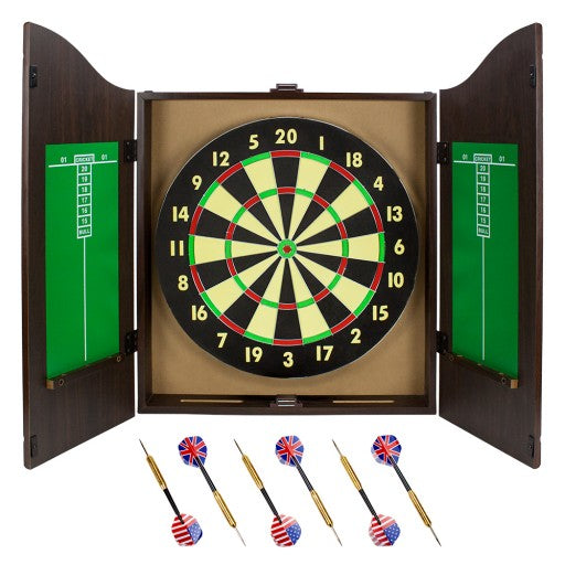 Walnut Dartboard Cabinet Set with 6 Brass Darts and Board