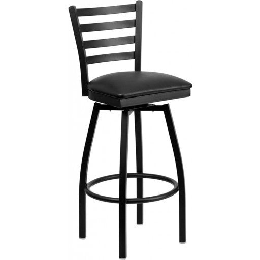 Metal Bar Stool With Ladder Back and Black Vinyl Seat