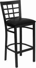 Black Window Back Metal Bar Stool W/Vinyl Seat