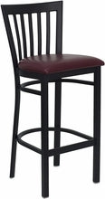 Black School House Back Metal Bar Stool w/Vinyl Seat